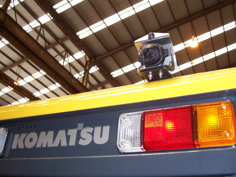 CCCamera with Stainless Steel Cover / HD Bracket on Rear of Grader