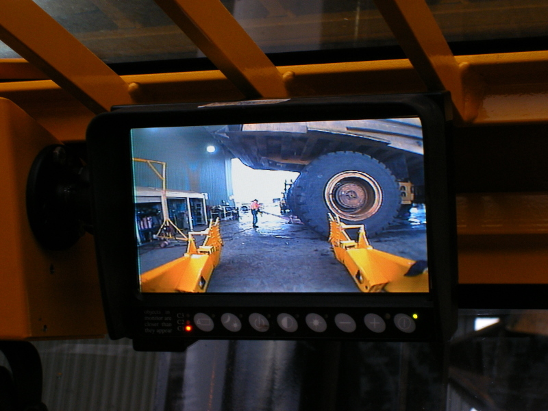 LCD Monitor View of Tyre Handler Attachment