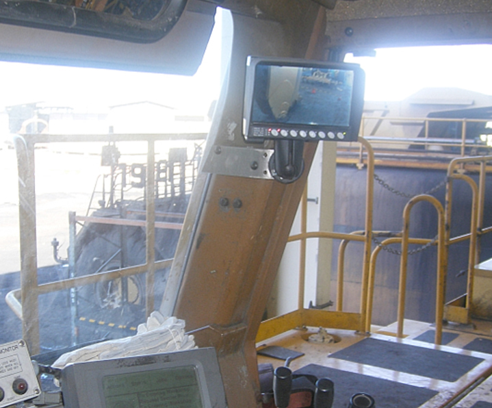 LCD Monitor in Cabin- note within peripheral view of the Operator
