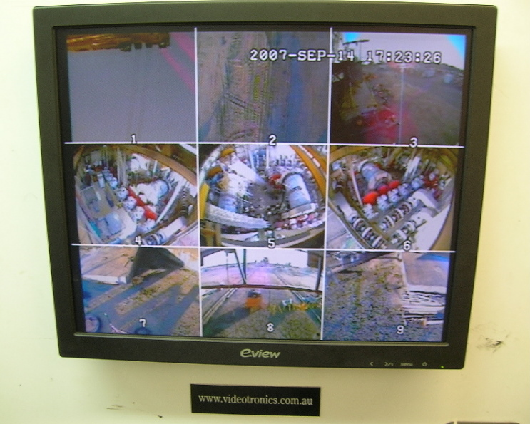 All 9 x Orlaco CCCamera Views on one single LCD Monitor
