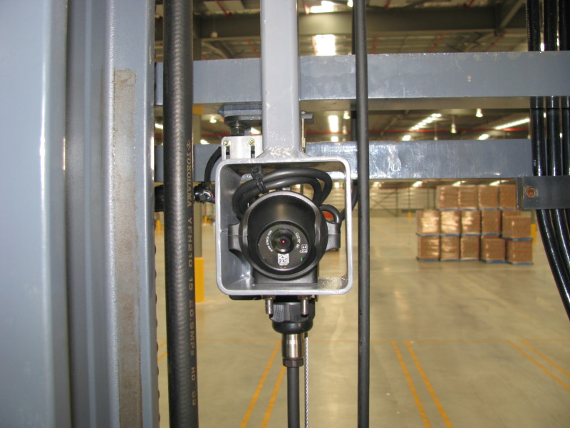 Compact Colour Camera mounted to view under Forks for easy removal and replacement of Pallets