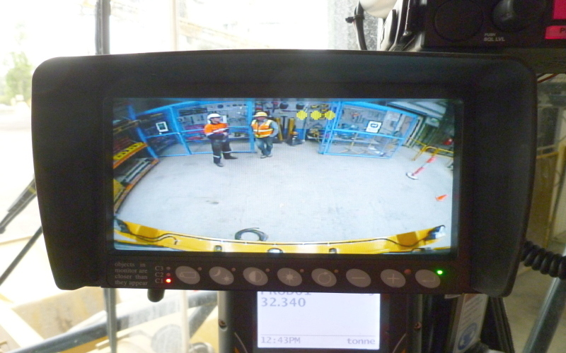 RLED Monitor Viewing of Rear Camera and Radar Indication (yellow doted scale)