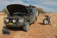 Allan Whiting never leaves on a Trip Bush without applying Ride- on Tyre Sealants  / Balancers