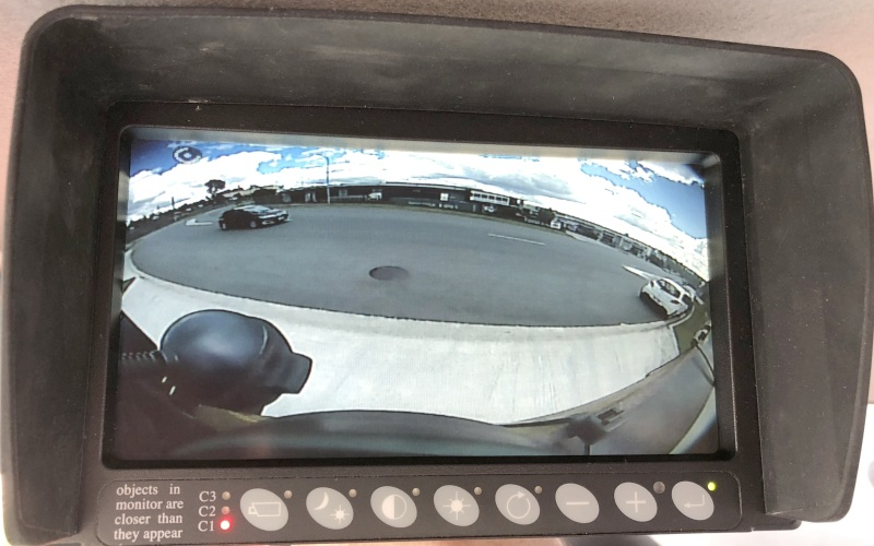 170 Deg CCCamera at rear of service vehicle- see all approaching traffic traffic