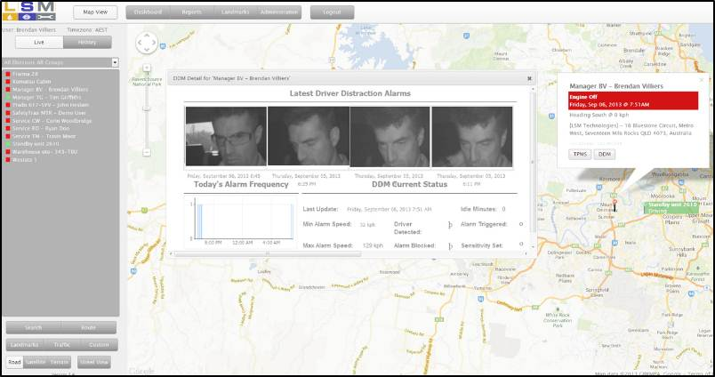 Infrared Images sent to Dispatch via SafetyTrax web based Reporting System